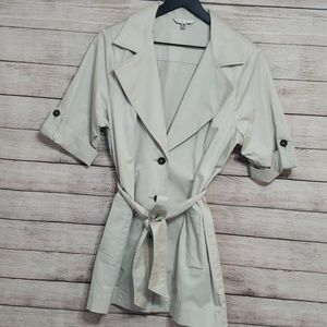 CAbi short sleeve trench coat